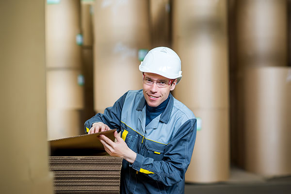 worker in paper mill looking at cardboard packaging